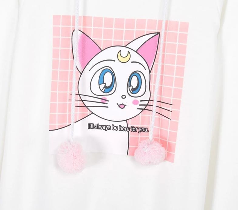 Luna Artemis Cat Ear Hoodie Hooded Sweater Coat Pom Poms Magical Girl Mahou Shoujo