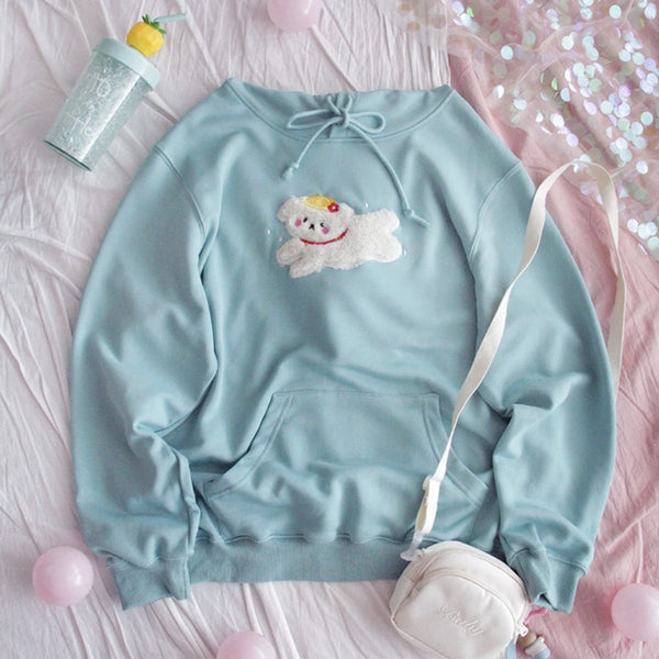 Prancing Puppy Hoodie - cat ears, fairy kei, fluffy, hooded, hooded sweater