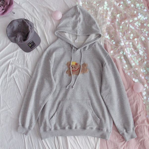Prancing Puppy Hoodie - Grey - cat ears, fairy kei, fluffy, hooded, hooded sweater
