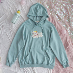 Prancing Puppy Hoodie - Teal Green - cat ears, fairy kei, fluffy, hooded, hooded sweater