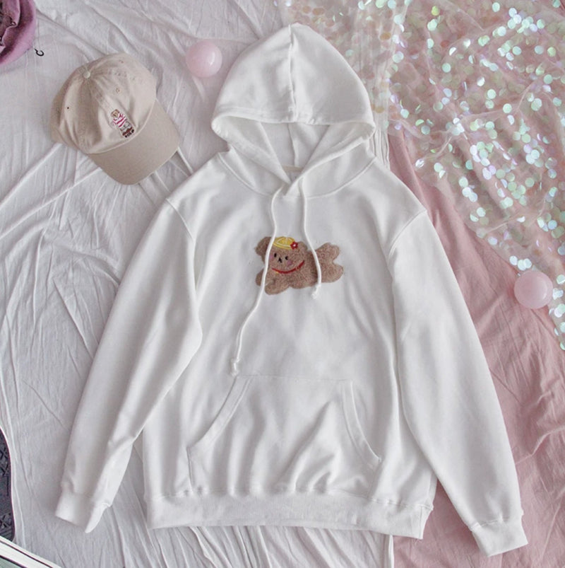 Prancing Puppy Hoodie - White - cat ears, fairy kei, fluffy, hooded, hooded sweater
