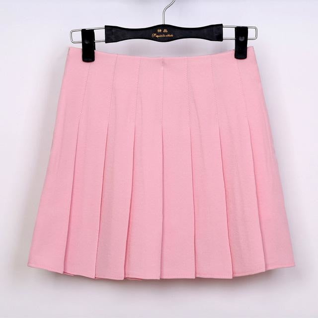preppy school girl skirt solid color traditional girly girl prep skort with shorts underneath by kawaii babe