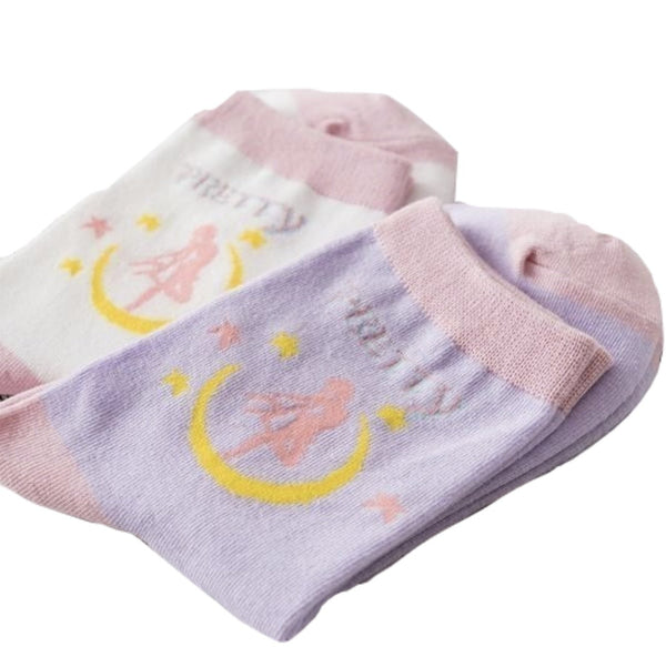 Milky Pastel Fairy Kei Sailor Moon Socks Set Pair Of 2 Mahou Shoujo Magical Girl