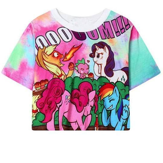 G3 My Little Pony Crop Top Tank Pinkie Pie Rainbow Dash Rarity Applejack Kawaii Cute