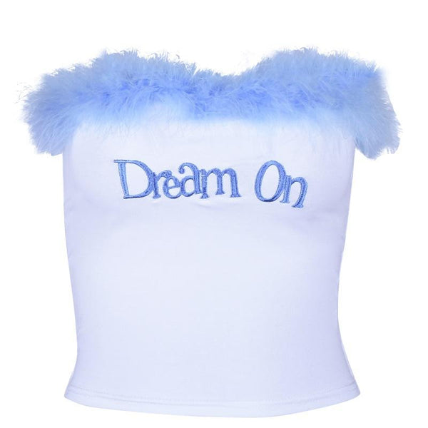 White Blue Dream On Fur Lined Tube Top Boob Tube Crop Top Shirt Furry Soft