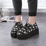 black cat goth creepers platform shoes sneakers wedge heel gothic black creepy cute wicca witch new age kawaii babe