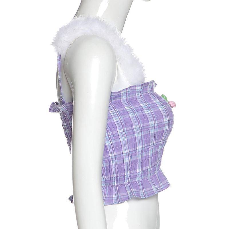 Purple Plaid Cherry Tank