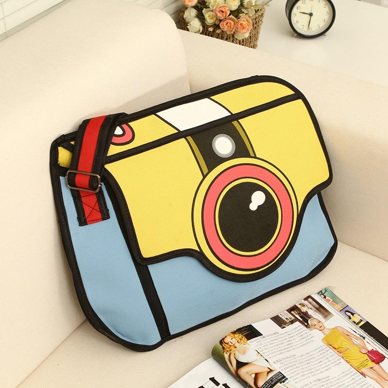 2D Messenger Shoulder Bag Camera Lens Retro vintage Cartoon Style Backpack Handbag Anime Harajuku Japan Mind Bending Mind Trick by Kawaii Babe