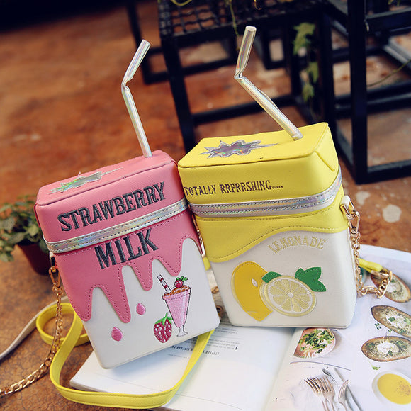 Strawberry Milk & Lemonade Juice Box Bag