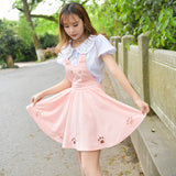 Kawaii Neko Cat Kitty Kitten Pleated Dress Dungarees Suspenders Skirt Princess DDLG Little Space Chire by Kawaii Babe