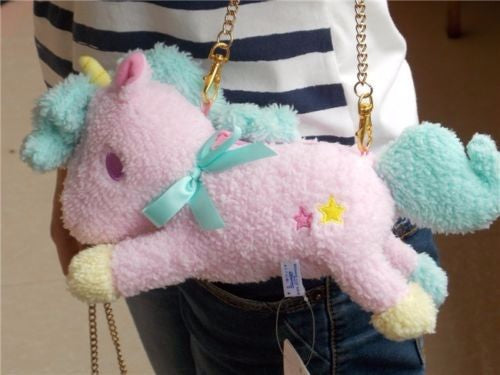 Sanrio Little Twin Stars Unicorn Purse Handbag Bag Kiki and Lala My Little Pony Plush Stuffed Toy Kawaii