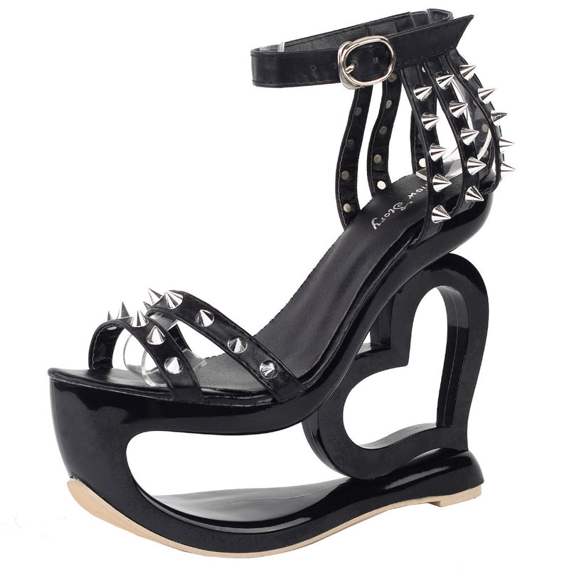 hollow heart cut out platform heel sandals high heels shoes punk rock edgy studded streetwear footwear fashion ankle strap rivets goth fashion by kawaii babe