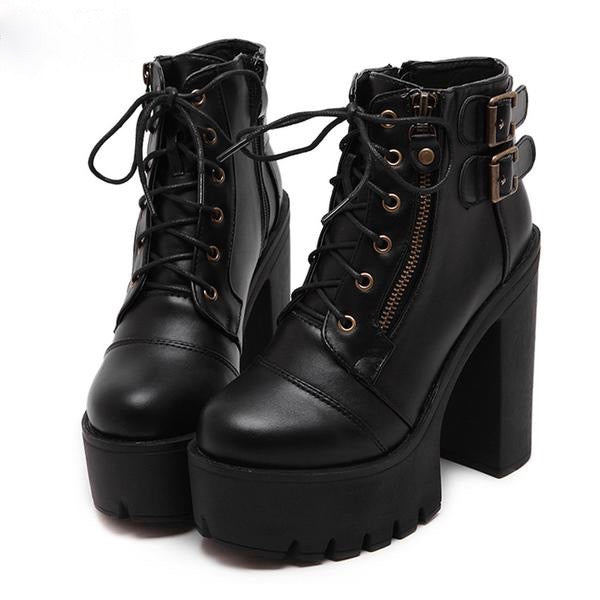 Chunky Lace Up Ankle Boots