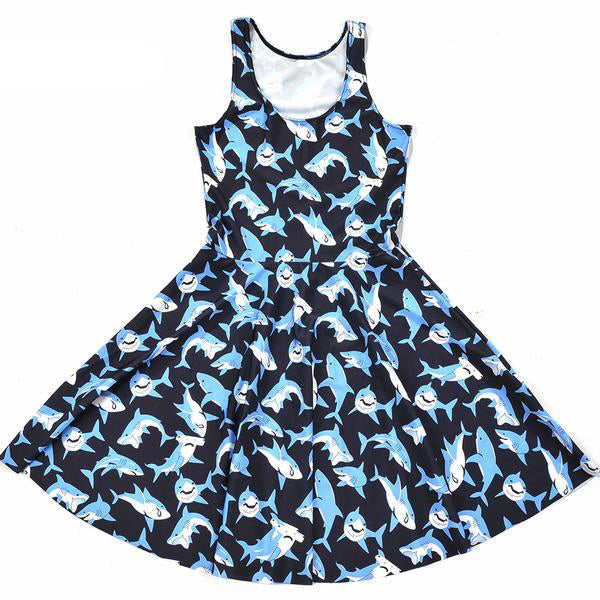 blue shark week skater girl dress bodycon hipster kawaii harajuku japan fashion plus size by kawaii babe