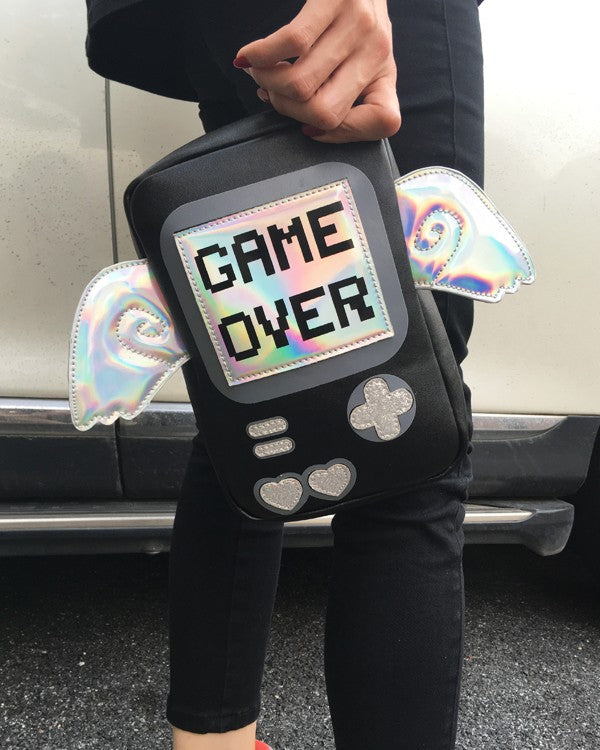 nintendo gameboy inspired purse handbag bag shoulder bag messenger style holographic angel wings glitter game buttons nerdy geeky harajuku japan fashion by kawaii babe