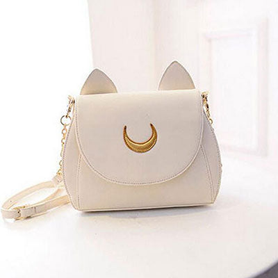 Kawaii Sailor Moon Car Purse Magical Girl Luna Cat Neko Handbag Bag Pastel Goth Harajuku Japan Fashion Artemis Gold CHain Adjustable