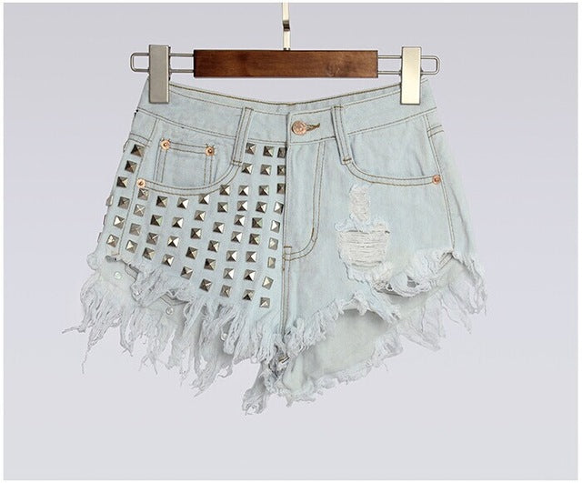 studded high waisted jean shorts denim distressed rivets edgy punk rock light blue by kawaii babe