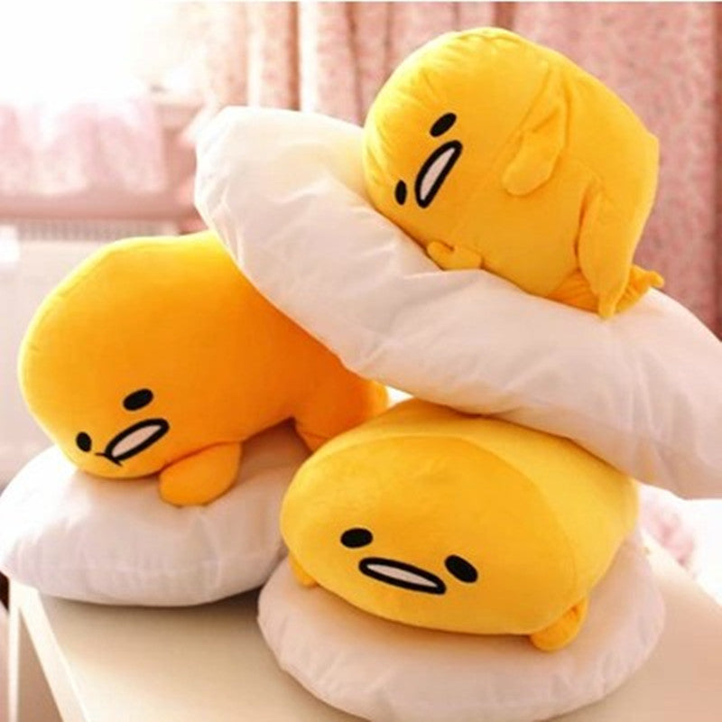 lazy gudetama egg Throw pillow soft plush toy happy yellow egg yolk  kawaii harajuku japan home decor by kawaii babe