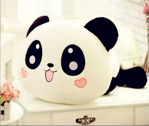 panda bear body pillow plush toy soft stuffed animal kawaii anime face heart cheek kawaii babe