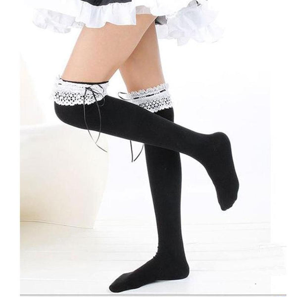 sexy lolita stockings thigh high socks with garter belt french maid style harajuku japan fashion cosplay by kawaii babe