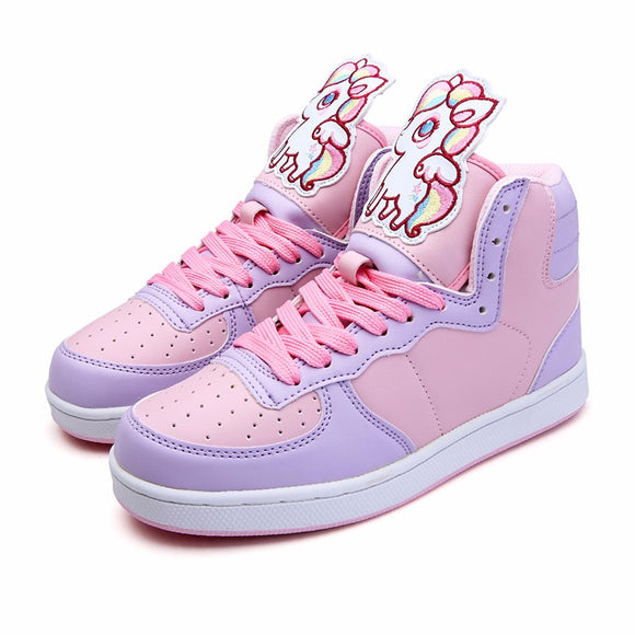fairy kei pastel unicorn pegasus hi top sneakers high tops shoes candy colored sweet lolita yume kawaii harajuku japan fashion by kawaii babe