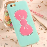 pastel bow iphone case phone protector cover 3d rubber soft pvc stand standing up watch movies kawaii babe