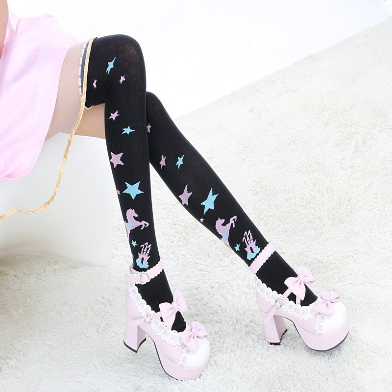 magic kingdom stockings thigh high socks knee highs pastel goth magical enchanted fairytale lolita harajuku japan fashion by kawaii babe
