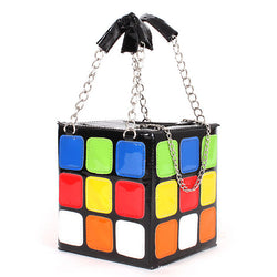 3D Rubik's Cube Purse Handbag SHoulder Bag Retro 80s 90s Vintage Geeky Nerdy Colorful Rainbow Square Block Silver Chain by Kawaii Babe
