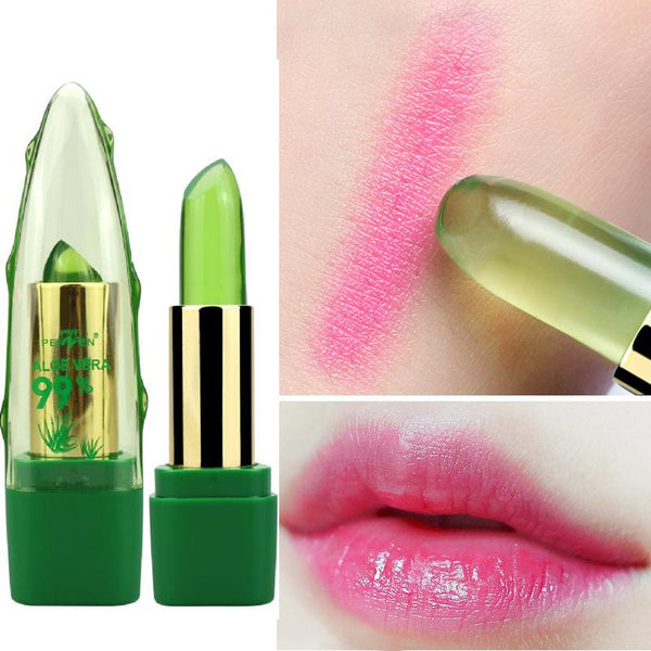 99% pure aloe vera color changing lipstick lipbalm lip stick lip balm hydrating moisturizing pure organic natural plant based green make-up