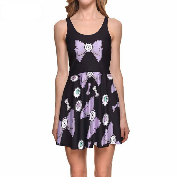 creepy cute eyeball bow cyclops skater dress pastel goth aesthetic plus size fashion by kawaii babe