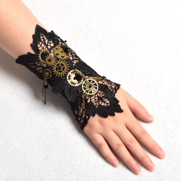 steampunk dieselpunk arm cuff gauntlet band bracelet accessory clock gears cogs wheels brass copper victorian era fashion lolita by kawaii babe