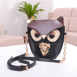 black owl 3d handbag purse vegan leather gold chain harajuku japan fashion by kawaii babe