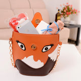 brown orange fox 3d handbag purse vegan leather harajuku japan fashion by kawaii babe