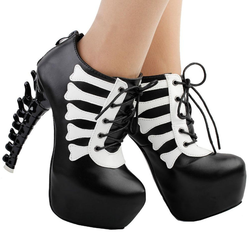goth skull bones spinal cord boots ankle booties punk rock streetwear fashion vegan leather unique 3d stiletto heels by kawaii babe
