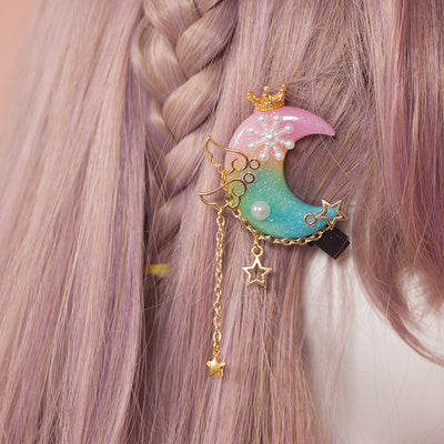 Fairy kei pastel resin moon hair pin clip accessory with stars gold hardware angel wings kawaii babe