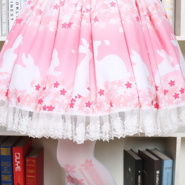 pink cherry blossom bunny lolita skirt petticoat pink princess sweet lolita style harajuku japan fashion sakura blossom tree by kawaii babe