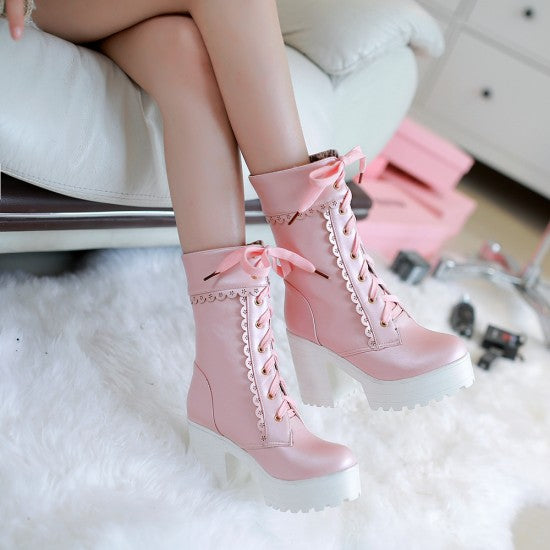 Pink Lace Up Chunky Lolita Boots Ankle Booties BDSM Girly by Kawaii Babe