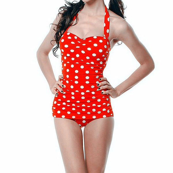 1950s retro vintage monokini swimwear one piece bikini swimsuit polkadot dotted  pin up girl  cute kawaii harajuku japan fashion by kawaii babe