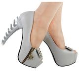 grey silver goth skull bones spinal cord pumps high heels stilettos punk rock streetwear fashion vegan leather unique 3d heels by kawaii babe