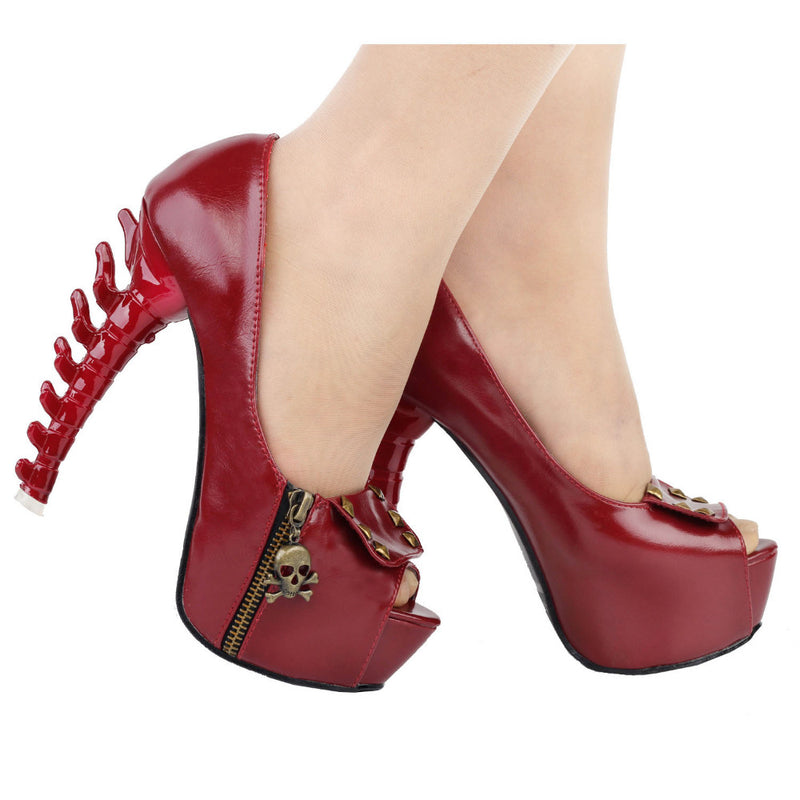 red goth skull bones spinal cord pumps high heels stilettos punk rock streetwear fashion vegan leather unique 3d heels by kawaii babe