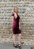 luxury velvet red dress soft velour fabric short sleeved elegant chic luxurious regal bodycon by kawaii babe