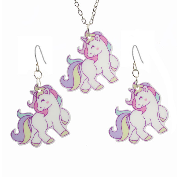 Pastel Unicorn Necklace & Earrings