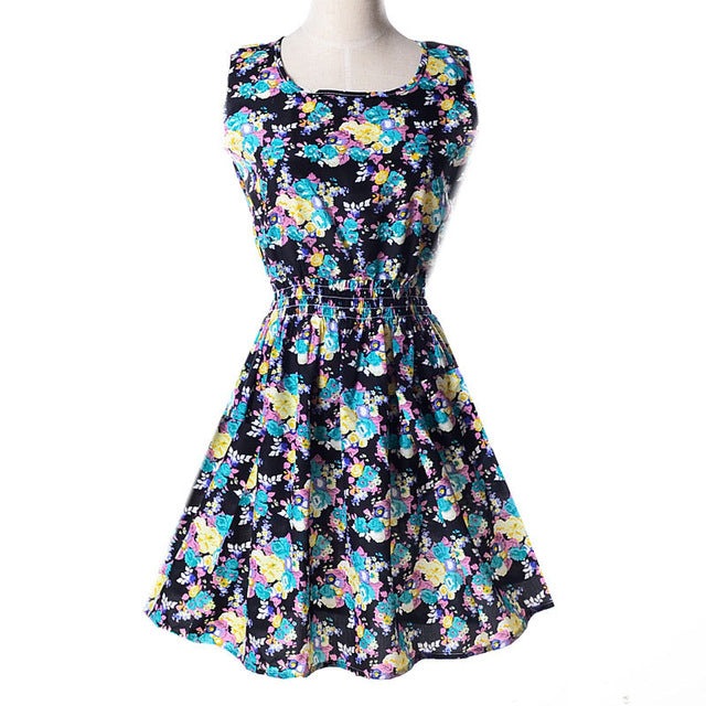 summer sundress floral flower sun dress ruched elastic waistband by kawaii babe