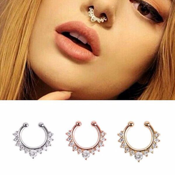 fake septum nose ring clicker artificial piercing surgical steel hoop by kawaii babe