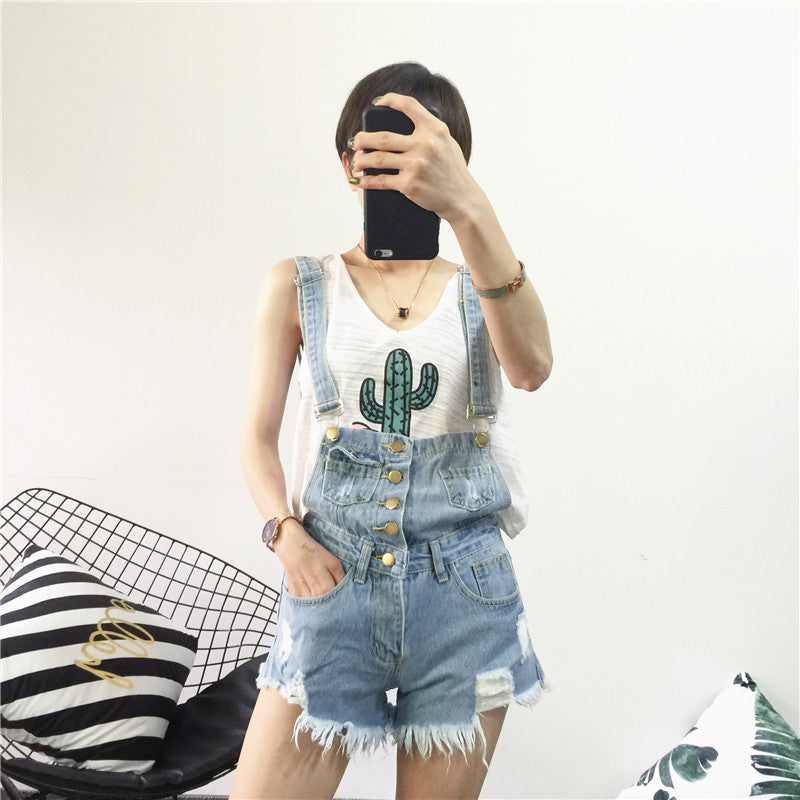 Acid Wash Denim Overalls