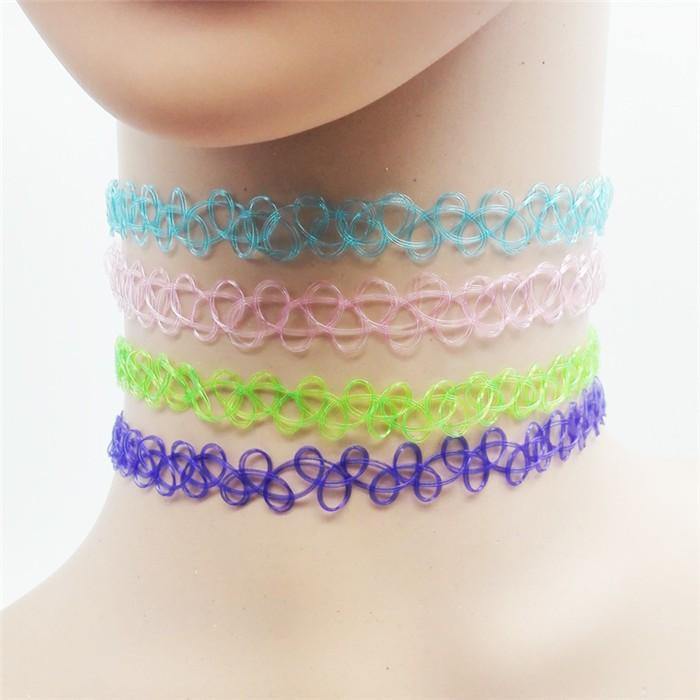 90s vintage choker necklace tattoo stretchy spiral retro aesthetic 1990s baby millennial leash collar by kawaii babe