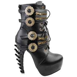 steampunk dieselpunk ankle boots black vegan leather booties clock gears cogs wheels brass copper victorian era fashion gothic lolita goth edgy punk shoes footwear by kawaii babe