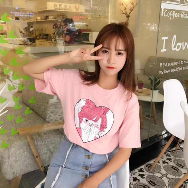 Blushy Anime Girl T-Shirt Kawaii Harajuku Japan Mori Girl Fashion Pink Aesthetic Tumblr Tee by Kawaii Babe