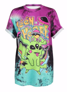 Alien Pikachu Pokemon T-Shirt Oversized Tee Tie-Dye Pastel Goth Pokeball Spaceship Creep Cute Kawaii Babe