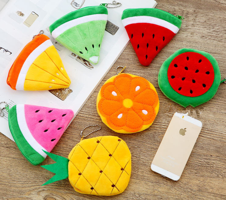 tropical fruit summer coin bag pouch purse handbag zipper compartment watermelon orange pineapple kiwi kawaii babe